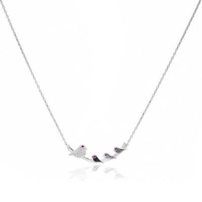 Srebrna ogrlica s privjeskom u obliku ptičica web shop online trgovina